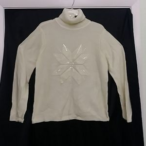 Style&Co winter white turkey neck sweater size m